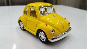 1967 vw Volkswagen Classical Beetle yellow Toy car model Kinsfun diecast metal