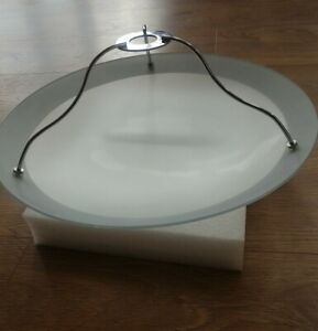 Large glass uplighter. VGC - modern dome silver opaque - 38cm diameter