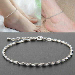 Women Fashion Ankle Bracelet 925 Sterling Silver Anklet Foot Jewelry Chain *UK*