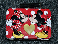 Disney Mickey Mouse Minnie Mouse Mini Metal Lunchbox Hearts Kissing  HTF
