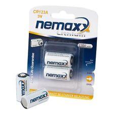 2x Pila de Litio / Bateria CR123A 3V 1700mAh y duración de 10 años Nemaxx