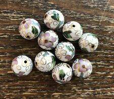 Vintage Genuine Asian White Multi Floral Cloisonné Enamel Metal Round Bead Lot