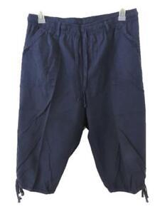 Erika pants capris size L large elastic waist blue 2 pockets pull on cotton