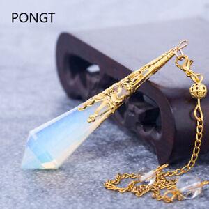 Natural stone pendulum for dowsing quartz Opalite opal pendulos sacred geometry