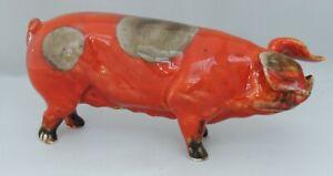 Anita Harris Flambe/Grey Pig - signed in gold to base - 16cm long