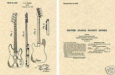 Fender PBASS Patent Art Print READY TO FRAME 1953 Clarence Precision Bass