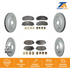 Front Rear Brake Coated Disc Rotors And Ceramic Pads Kit 2014-2019 Dodge Journey
