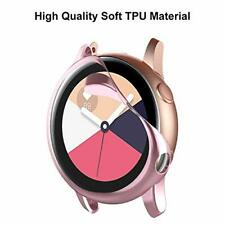 2 Pack Samsung Galaxy Watch Active Case Anti Scratch Cover Full Frame Clear Pink