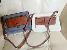 Fossil Bag Lot Of 2 Crossbody Kinley Denim Cream Brown Zip retail $148.each!