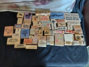 Lot Of 61 Rubber Stamps