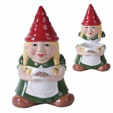 10 Inch Gnome Sweet Lady Gnome Cookie Eating Ceramic Jar Figurine