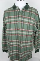 Vintage Men's Tommy Hilfiger Long Sleeve Polo Rugby Shirt Size L Madras Green