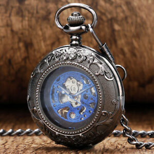 Vintage Pocket Watch Mechanical Hand-wind Skeleton Case with Glass Fob Chain