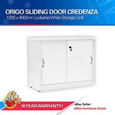 Sliding Door Credenza, Storage Unit Cupboard with Shelves, Lockable Origo White