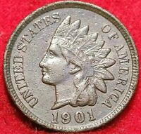 🇺🇸 VINTAGE 1901 INDIAN HEAD CENT PHILADELPHIA COIN