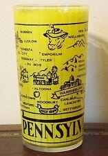 Pennsylvania Souvenir Hazel Atlas Glass Vintage Gay Fad Yellow Turnpike
