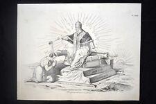 Incisione d'allegoria e satira Papa Pio IX, Gaeta Don Pirlone 1851