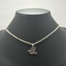 Dove Bird Peace Necklace Sterling Silver Plated Chain Link Women's Jewelry