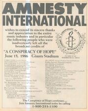 "(SFBK6) POSTER/ADVERT 13X11"" AMNESTY INTERNATIONAL, A CON SPIRACY OF HOPE 1986"