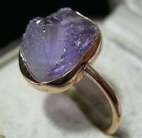 Beautiful Rose Gold on Sterling Silver 6.36cts Real Raw Amethyst Stone RING Q 8