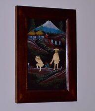 JAPANESE Original Painting MT. FIJI Landscape Vintage BONE ETCHED Man & Boy RARE