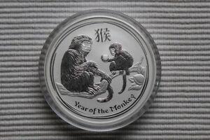 """5 oz Lunar II silver coin 2016, Monkey """" rare """", top condition"""