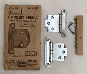 Vintage Amerock DECO Cabinet Hinge Pair E3061 Polished Chromium AB