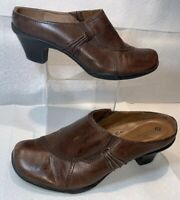 EARTH SPIRIT Classics Size 9 Women's Brown Leather Emma Clogs Mules Heel Shoes