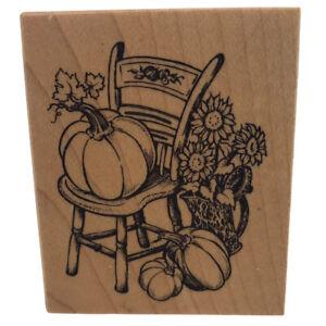 PSX Rubber Stamp E2385 Autumn Chair Pumpkins Flowers Fall Vintage 1998 New