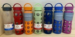 Lifefactory BPA Free 22 oz Glass Water Bottle Silicone Grip Classic Sports Yoga
