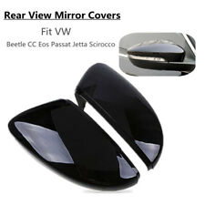 Pair Black Rearview Mirror Cover Cap For VW Beetle CC Eos Passat Jetta Scirocco