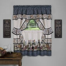 "CHATEAU COMPLETE KITCHEN CURTAIN SET- wine bottles grapes 36"" long"
