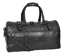 Black Leather Holdall Luxury Travel Duffle Bag Gym Weekend Cabin Sports Bag NEW