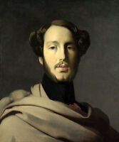 Stunning Oil painting young man portrait with big Mustache and Cloak canvas