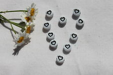 Czech Glass Letter  *Heart*  Beads/1 Dozen