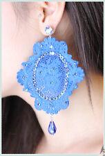 orecchini in pizzo macrame azzurro pendenti artigianali  con strass e punto luce