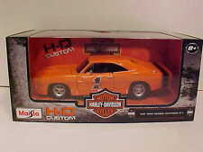 Harley Davidson 1969 Dodge Charger R/T Diecast Car 1:25 Maisto 8inch 1/24 Orange