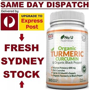 ORGANIC TURMERIC + BLACK PEPPER 600mg 365 Caps Curcumin Nu.U DOUBLE STRENGTH!