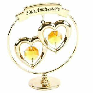 50th Anniversary Gifts; Two Hearts Ring Ornament by Crystocraft