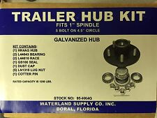 "TRAILER HUB KIT 1"" SPINDLE 5 BOLT GALVANIZED WATERLAND SUPPLY 95-HK4G"