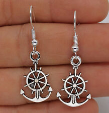 925 Silver Plated Hook- 1.5'' Boat  Anchor Rudder Lady Party Dangle Earrings #61