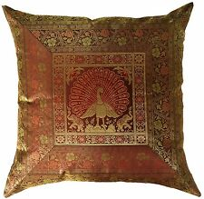 "Large 24"" Brown Peacock Cushion Cover Floor Pillow Indian Ethnic Throw Decor"