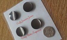 4 Pretty Vintage Rich Black / Brown Coat Dress Plastic Shank Buttons 22mm
