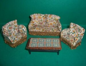 VINTAGE 1970's LUNDBY BARTON DOLLS HOUSE THREE PIECE LOUNGE SUITE & COFFEE TABLE