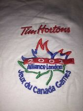 "Tim Hortons Vintage White T-shirt with embroidered logo ""Canada Games"""