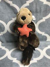 "Sea Otter Brown With Orange Starfish Plush Stuffed Animal Unipak 14"""