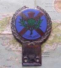 Old Heavy Chrome Car Mascot Badge  : c1960 Scotland Thistle Saltire by J R Gaunt