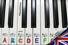 Music 61 key Keyboard or Piano Stickers 36 white key kids monster clear stickers