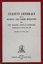 STATUTI GENERALI DELLA SOCIETA' DEI LIBERI MURATORI DEL RITO SCOZZESE 1960-L4388