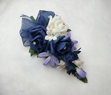 Wedding Flower Buttonhole  Navy Blue & Ivory .... PIN ON